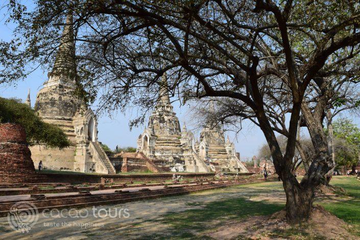 ступи в Ват Пра Си Санпет, Аютая, Тайланд