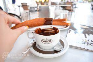 churros con chocolate, Spain;
