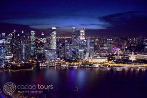 нощна гледка от хотел Марина Бей Сандс, Сингапур