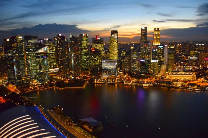 гледка от хотел Марина Бей Сандс вечер, Сингапур
