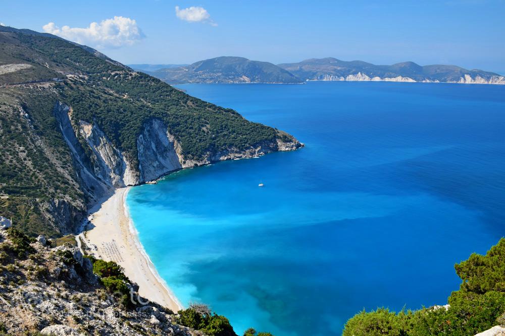 плажът Миртос, остров Кефалония, Гърция