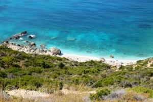 плажът Петани - малкият Миртос, Кефалония, Гърция
